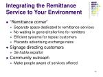 integrating the remittance service to your environment