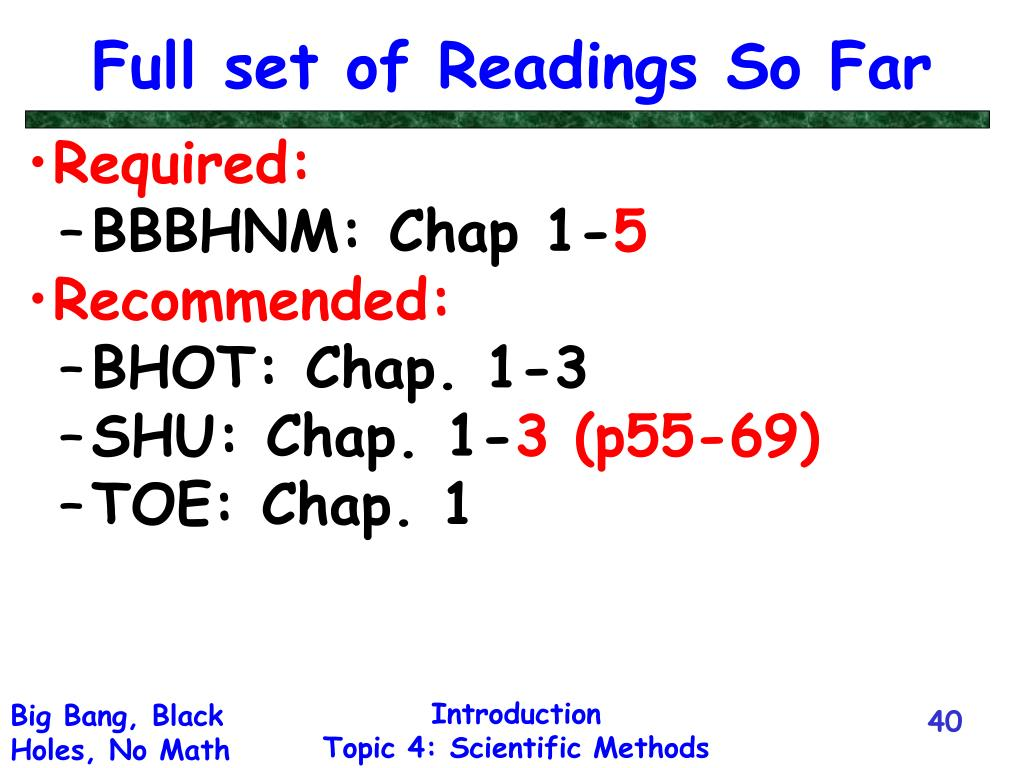 Full set of Readings So Far