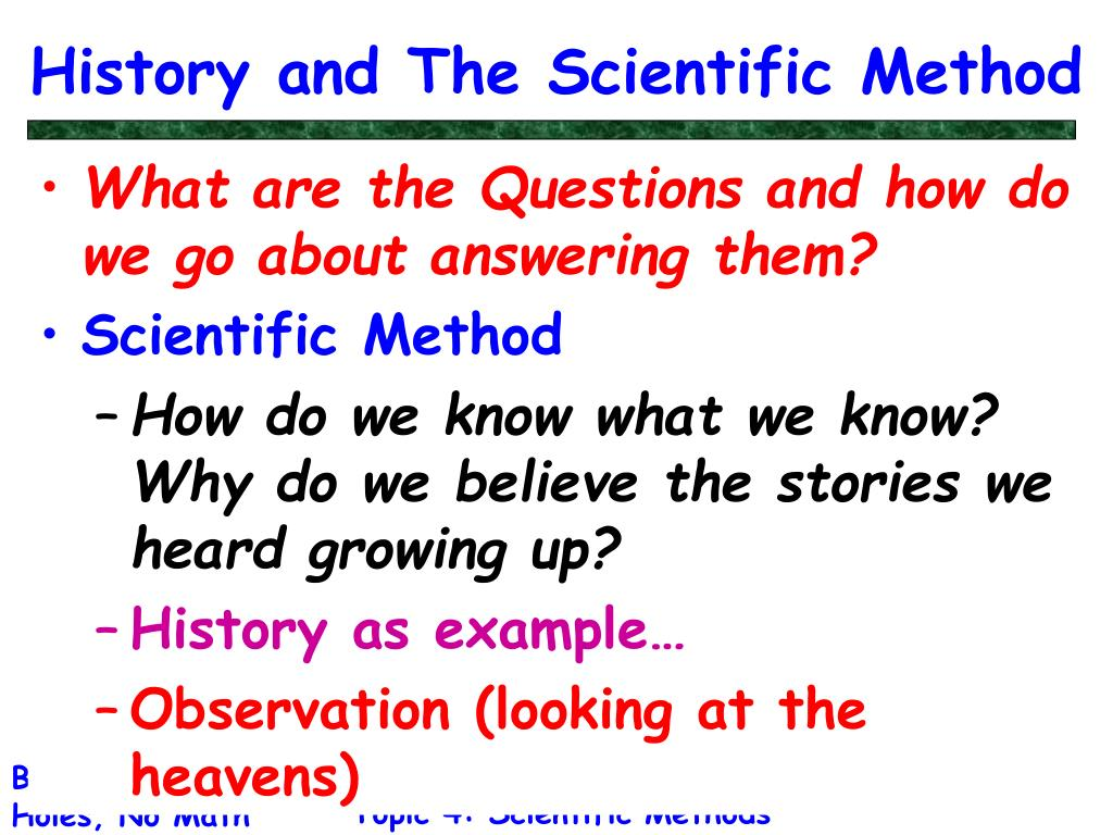 History and The Scientific Method