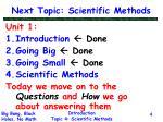 next topic scientific methods