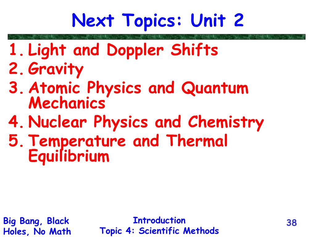 Next Topics: Unit 2