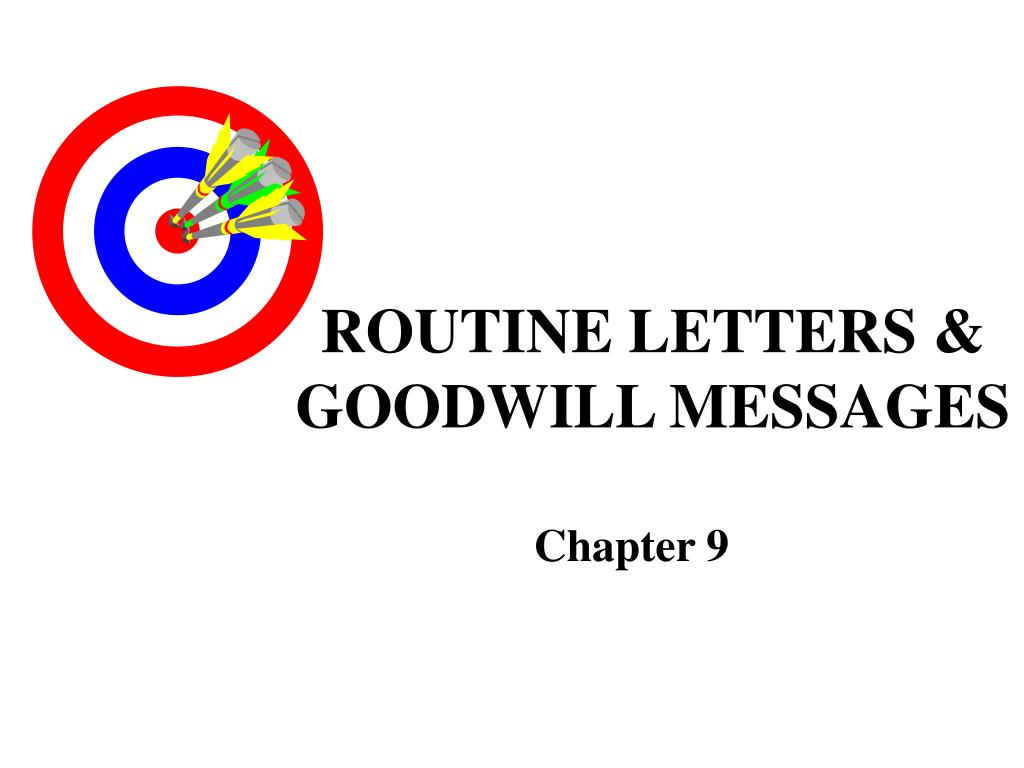routine letters goodwill messages l.