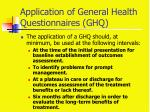 application of general health questionnaires ghq