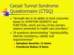 carpal tunnel syndrome questionnaire ctsq
