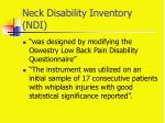 neck disability inventory ndi
