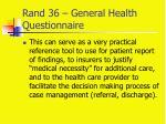 rand 36 general health questionnaire