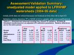 assessment validation summary unadjusted model applied to lfrwmp watersheds 2004 05 data