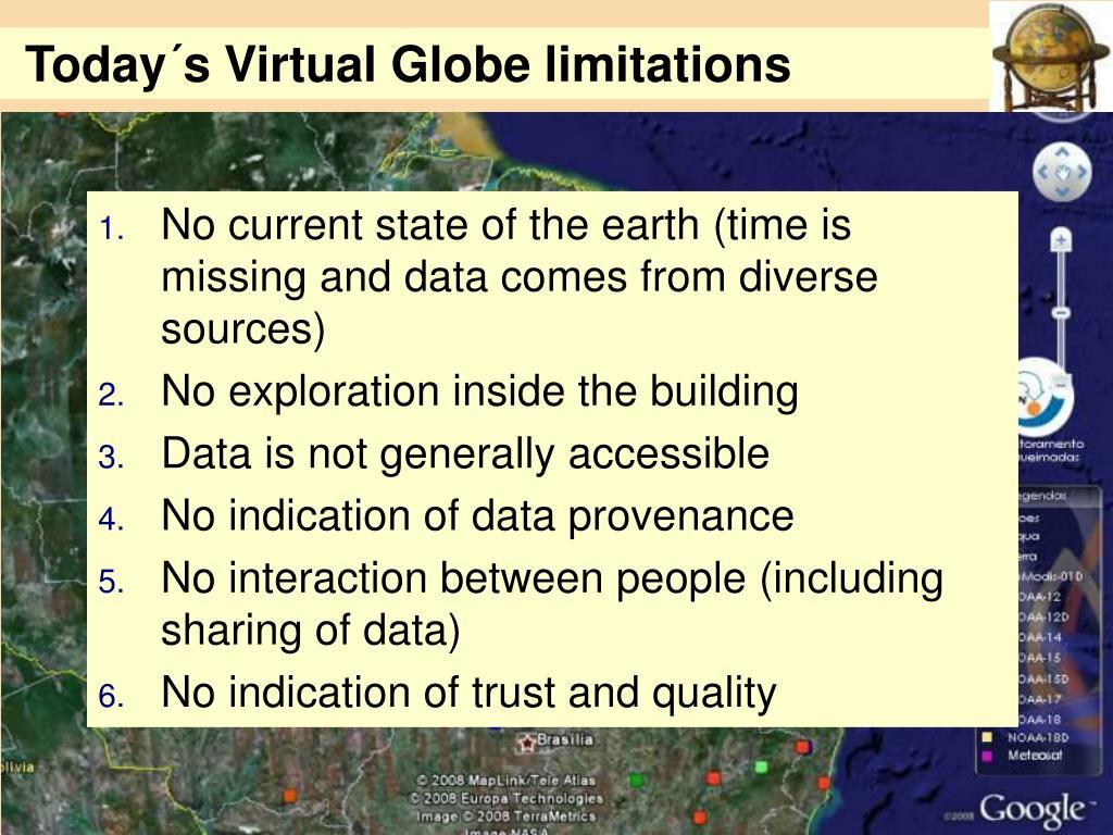 Today´s Virtual Globe limitations