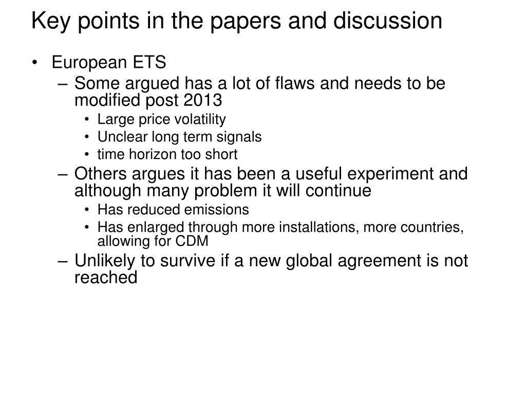 Key points in the papers and discussion