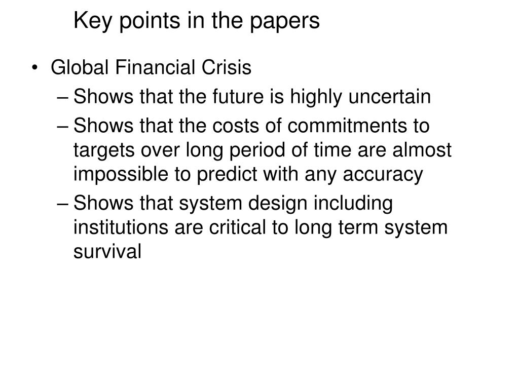 Key points in the papers