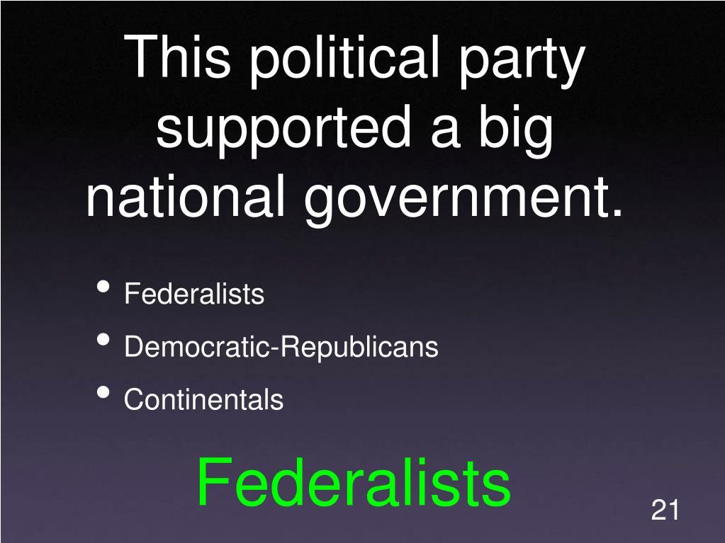 federalists and democratic republicans as permanent political