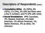 descriptors of respondents cont