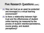 five research questions cont