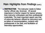 main highlights from findings cont