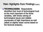 main highlights from findings cont46