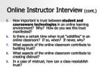 online instructor interview cont
