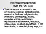 theoretical underpinnings trust and dl cont