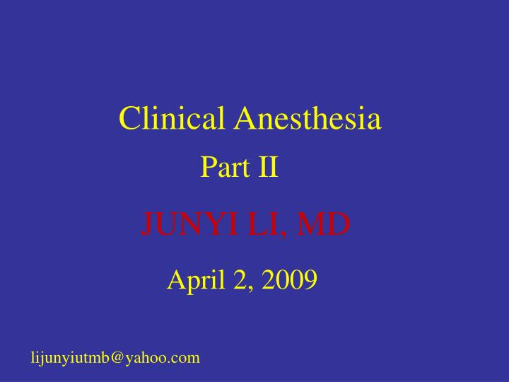 clinical anesthesia n.