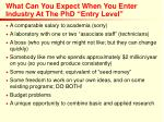 what can you expect when you enter industry at the phd entry level