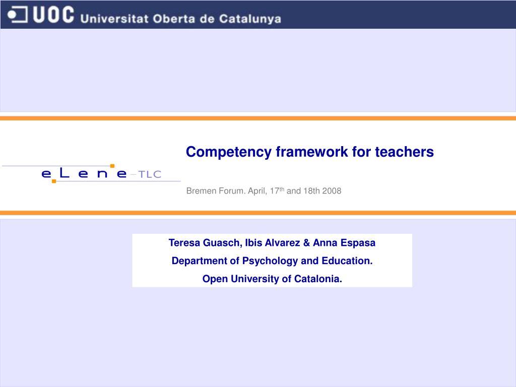 competency framework for teachers l.