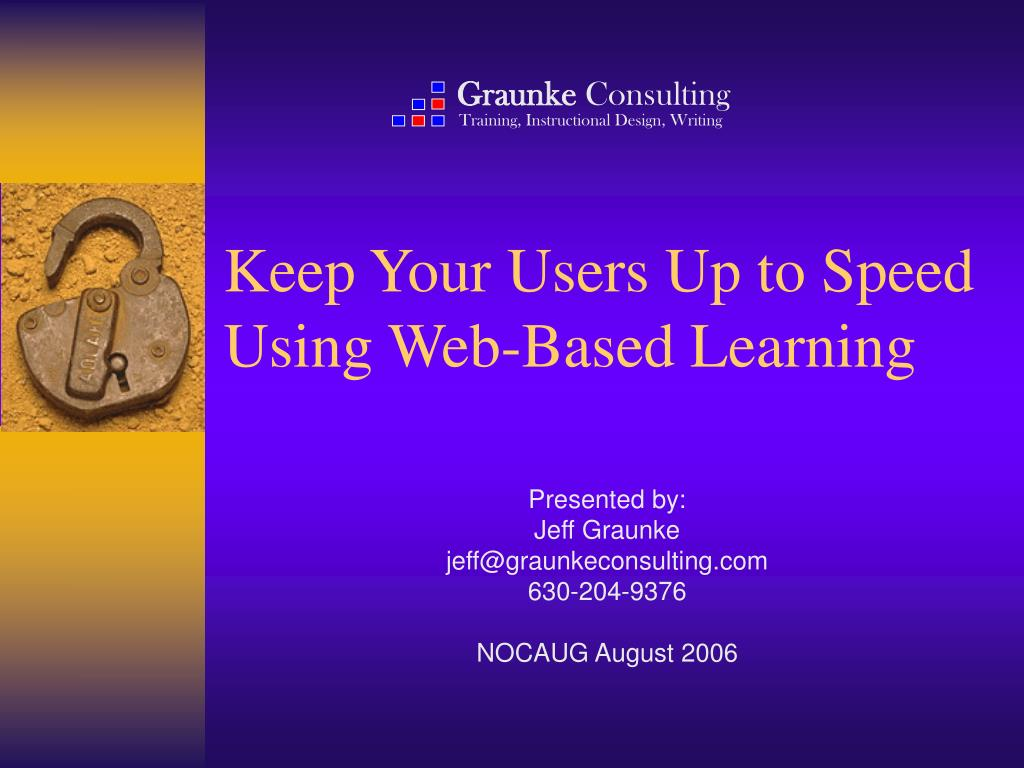 keep your users up to speed using web based learning l.