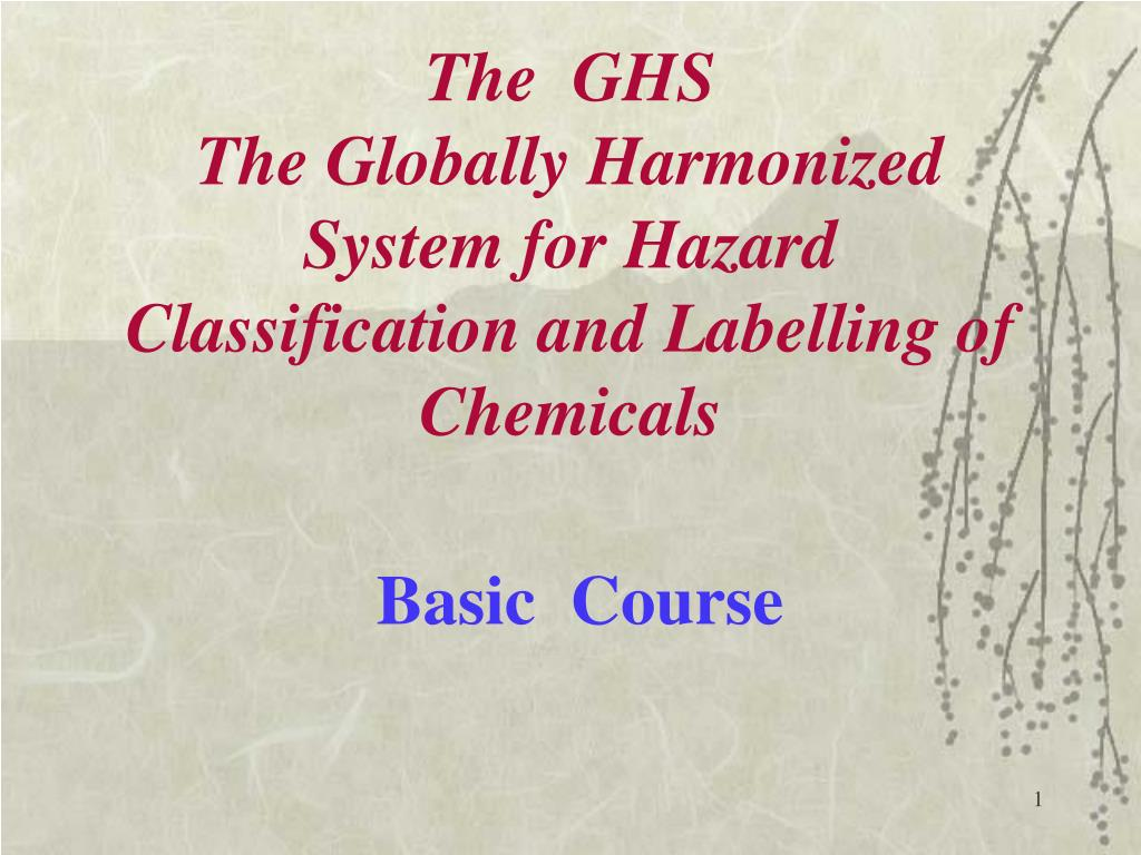 the ghs the globally harmonized system for hazard classification and labelling of chemicals l.
