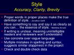 style accuracy clarity brevity
