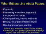 what editors like about papers