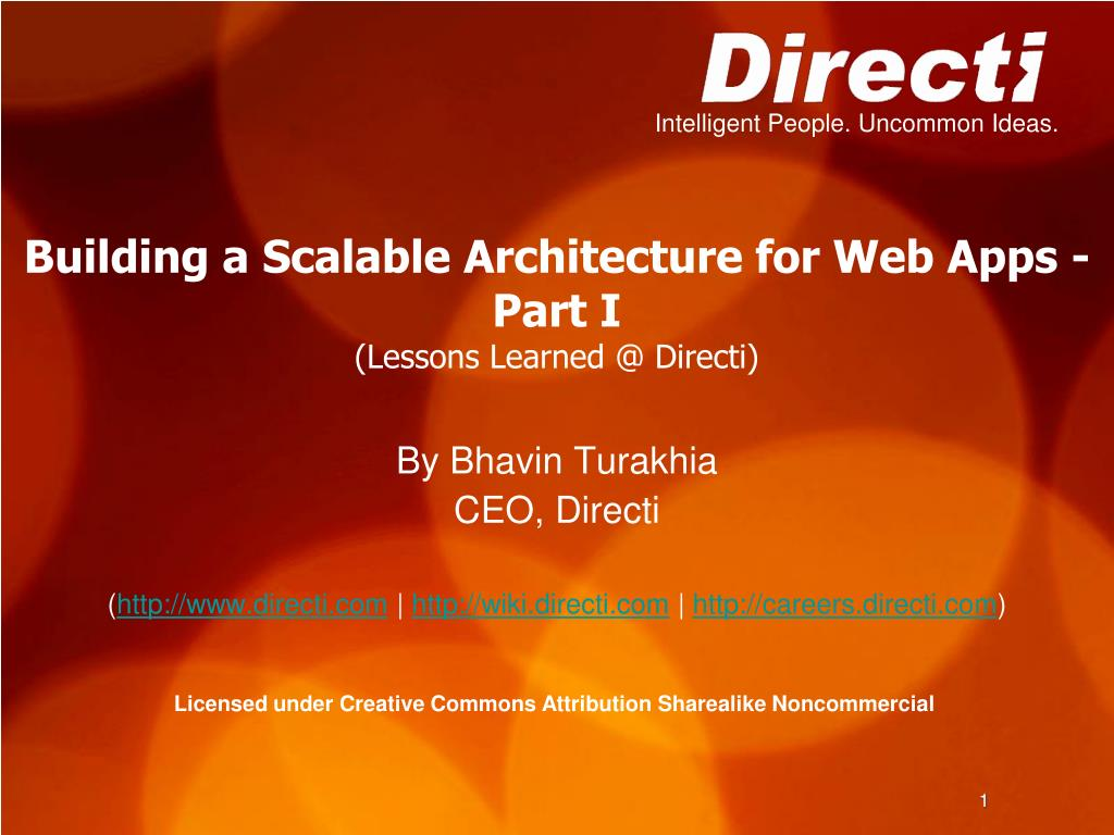 building a scalable architecture for web apps part i lessons learned @ directi l.