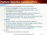 platform selection considerations