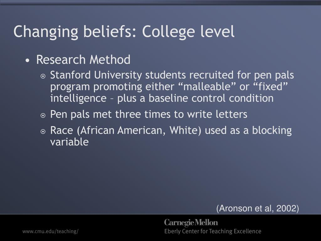 Changing beliefs: College level