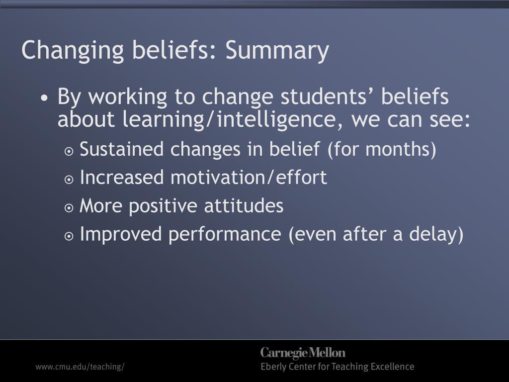 Changing beliefs: Summary