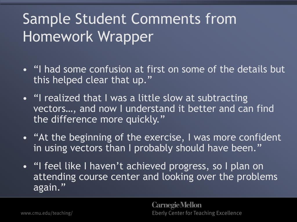 Sample Student Comments from Homework Wrapper