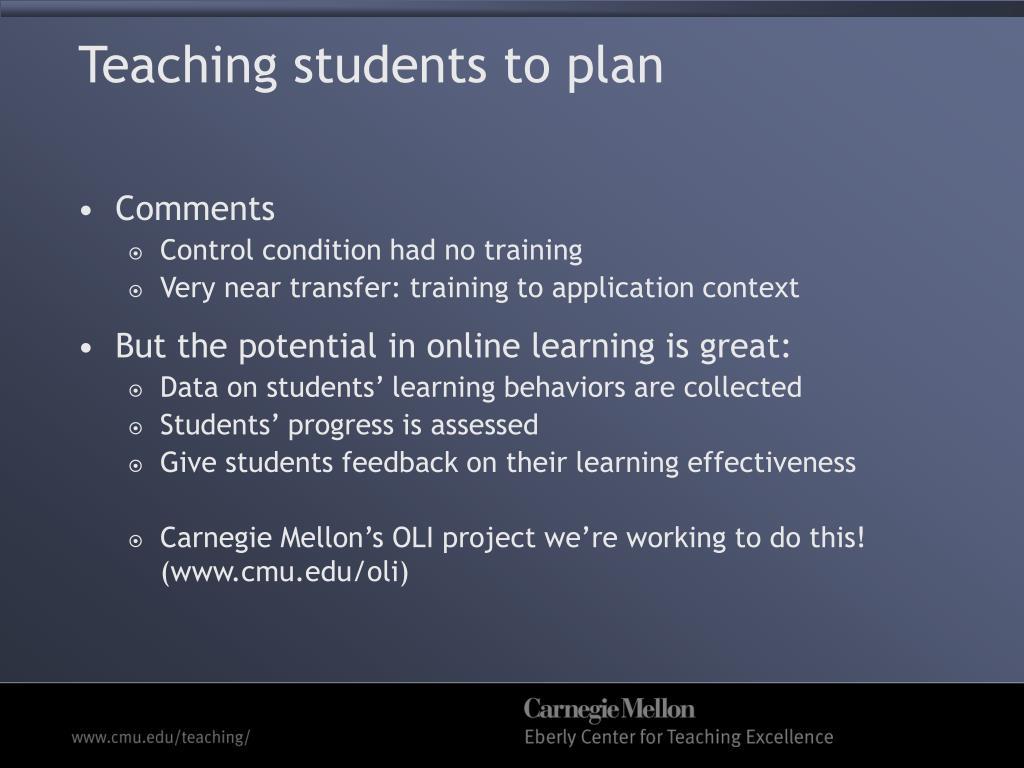 Teaching students to plan