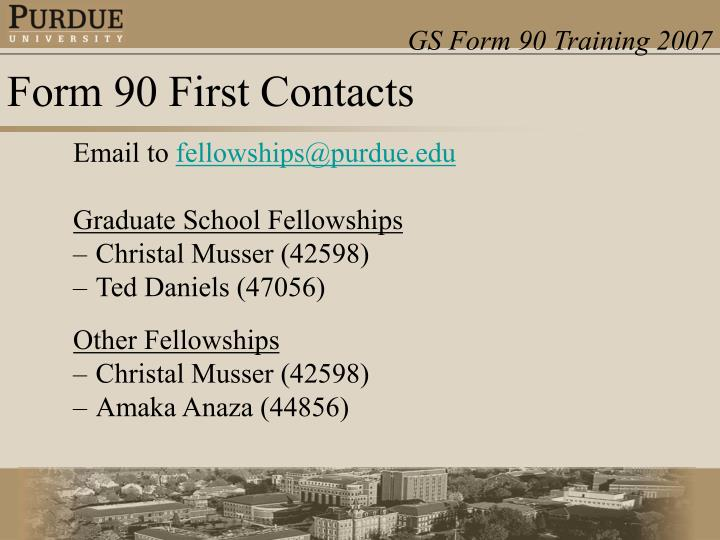 Form 90 first contacts