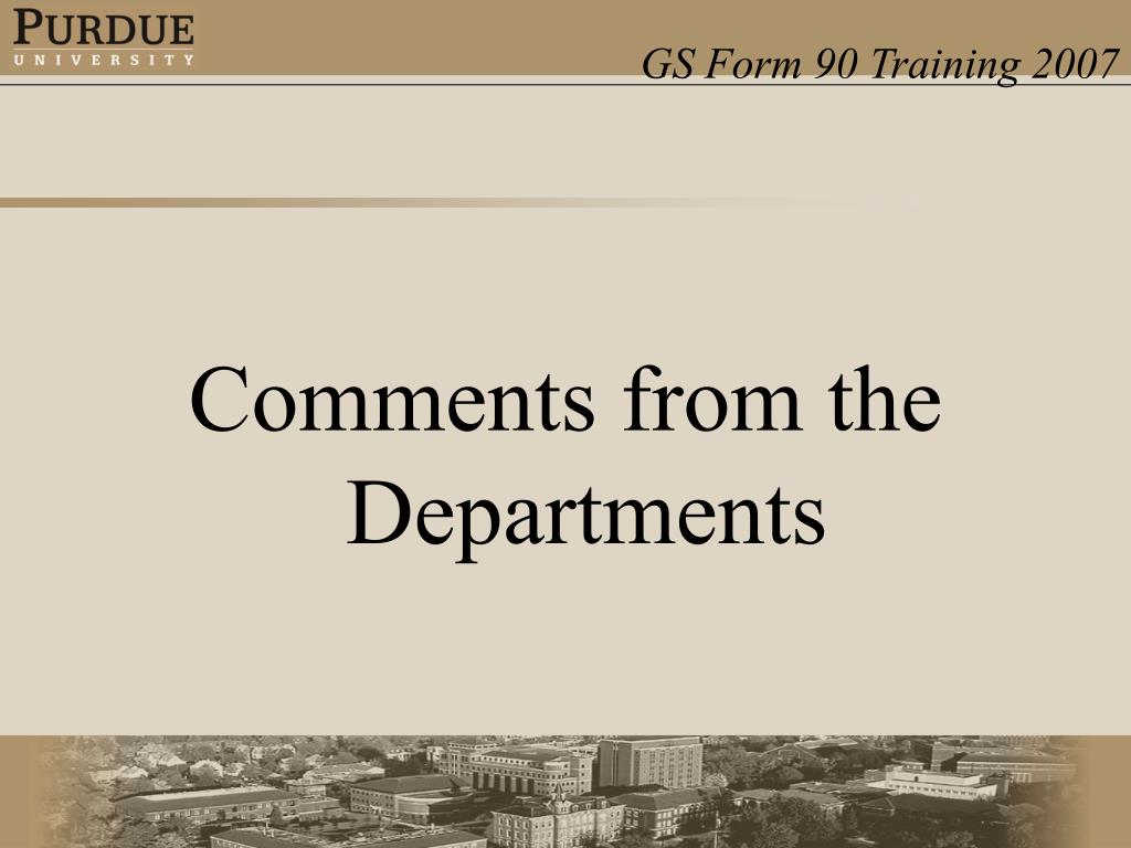 Comments from the Departments