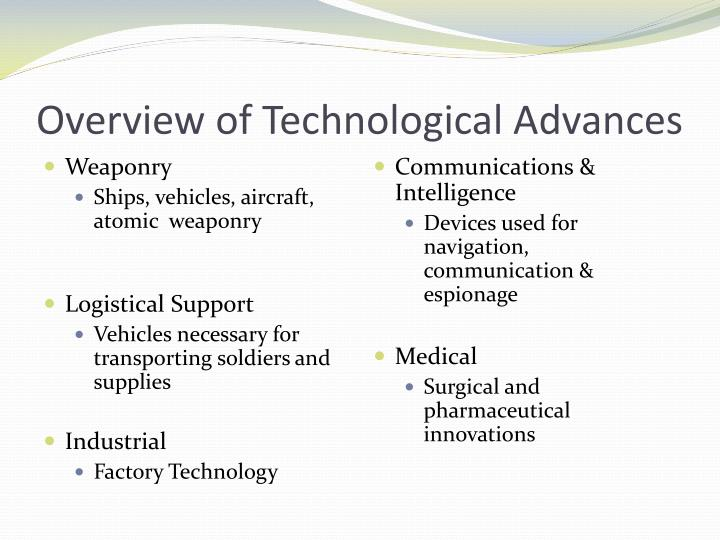Overview of technological advances
