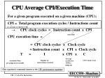 cpu average cpi execution time