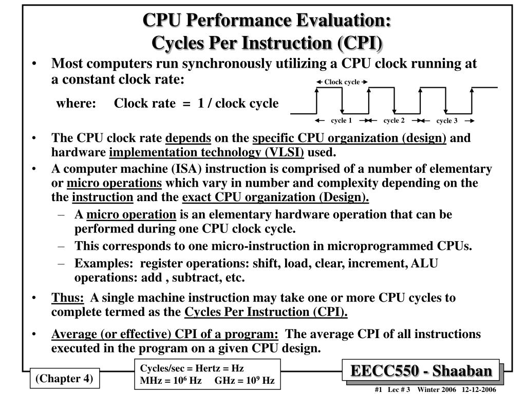 cpu performance evaluation cycles per instruction cpi l.