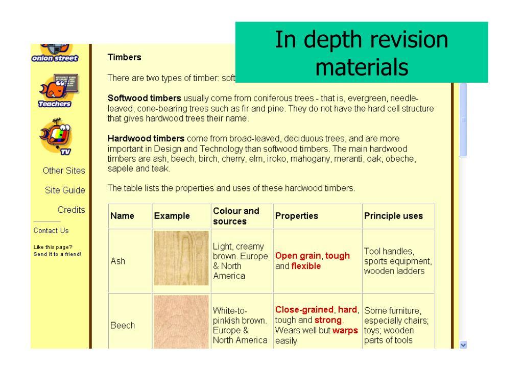 In depth revision materials