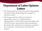 department of labor opinion letters