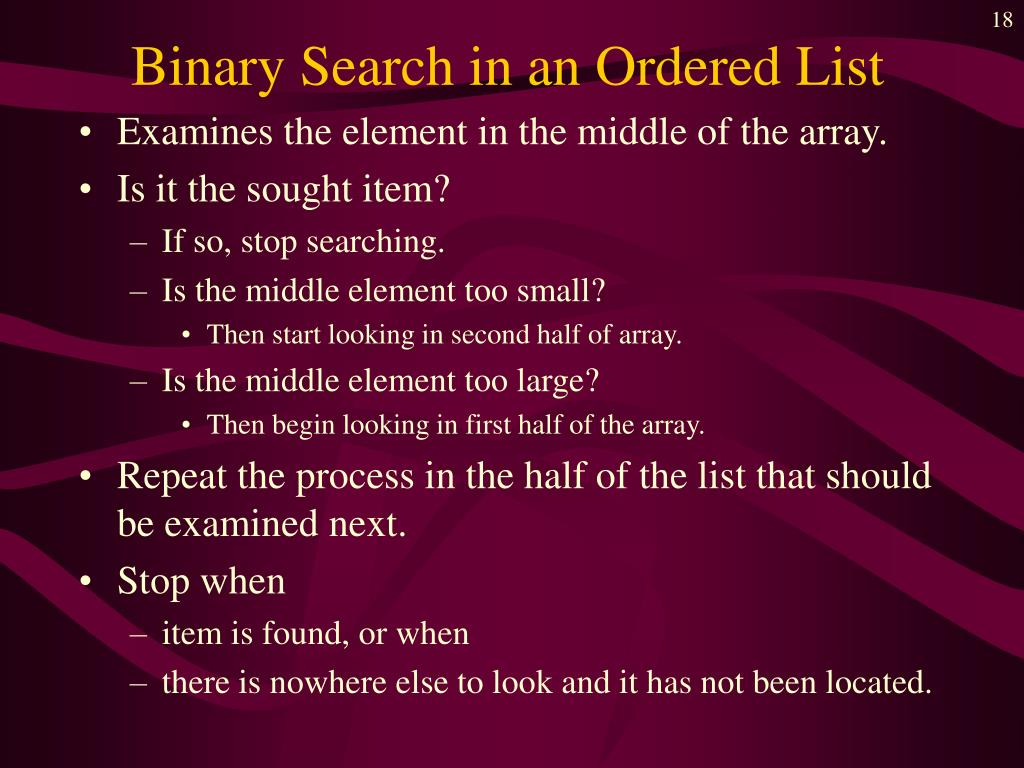 Binary Search in an Ordered List