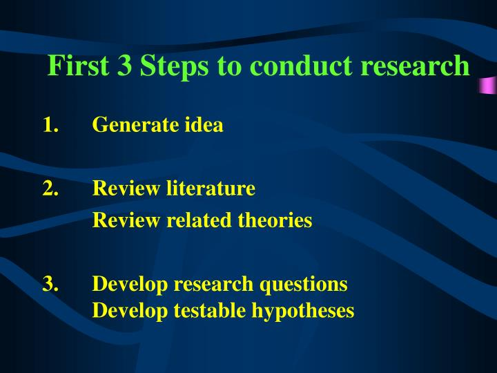 first 3 steps to conduct research n.