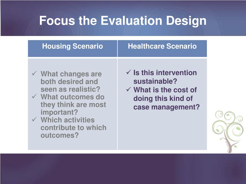 Focus the Evaluation Design