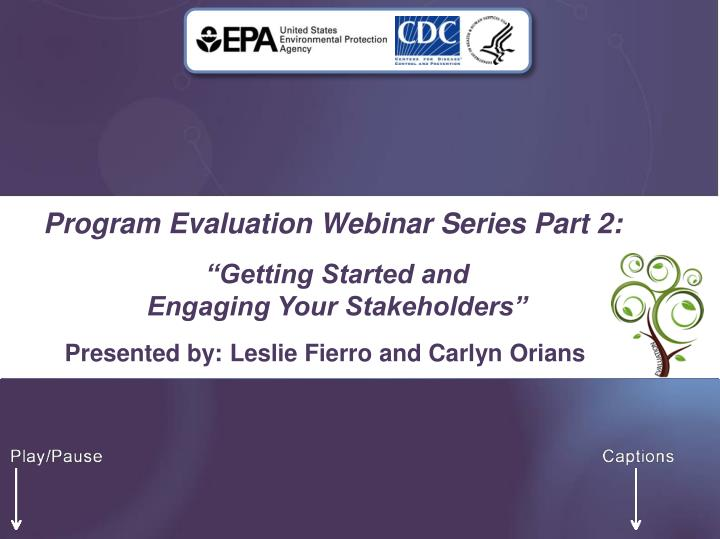 Program evaluation webinar series part 2