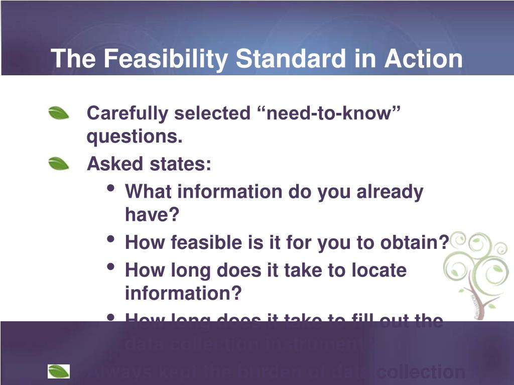 The Feasibility Standard in Action
