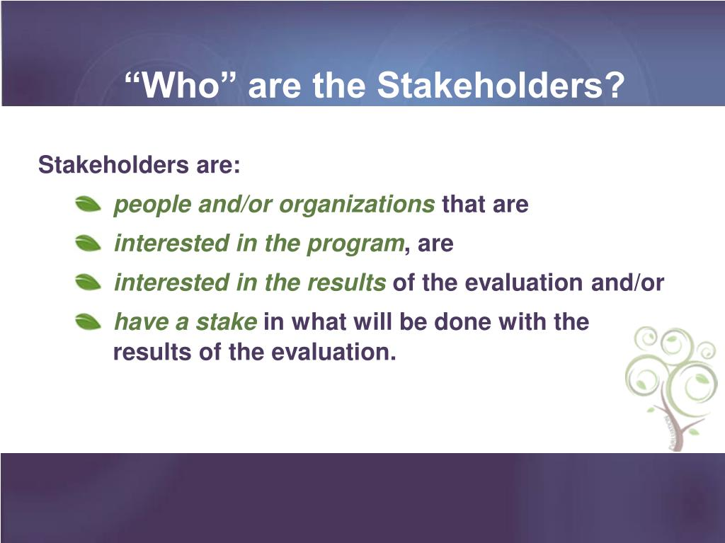 """Who"" are the Stakeholders?"
