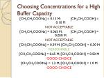 choosing concentrations for a high buffer capacity