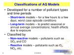 classifications of aq models