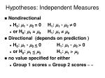 hypotheses independent measures